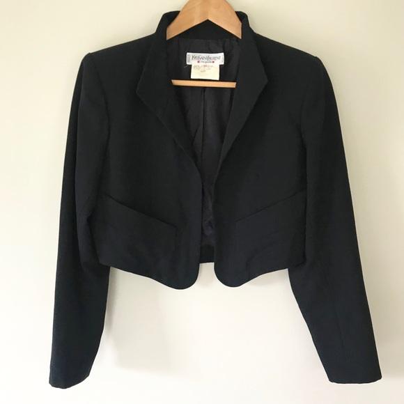 Yves Saint Laurent Jackets & Blazers - YVES SAINT LAURENT Black Blazer Vintage 80's Retro
